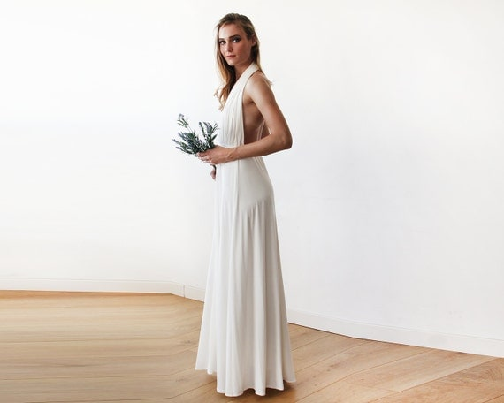 Ivory Bridal Halter Neck Maxi Gown Backless Maxi Ivory Dress
