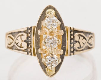 Antique Ring - Antique Victorian 14k Rose Gold Diamond Navette Ring