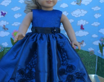 Sapphire Blue Princess dress for 18 inch doll like American Girl