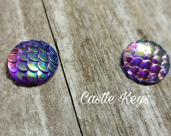 Dragon Scale Cabochons Fish Scale Mermaid Scale Cabochons Flat Back 12mm Blue Purple 4 pieces