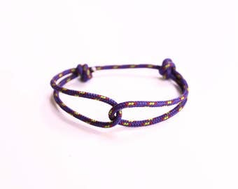 Rope Bracelet - Unisex Hugging Loop Rock Climbing Bracelet - Purple