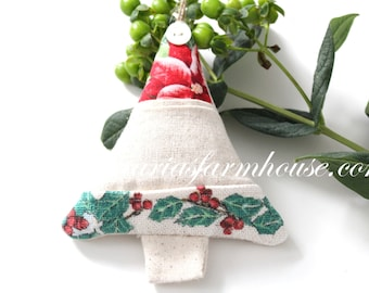 Dried Lavender, Hanging Christmas Tree Sachet/Ornament with Mother of Pearl Button, Keepsake, Secret Santa or Stocking Stuffer