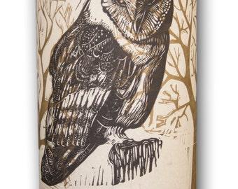 Hand printed owl and tree motif lamp