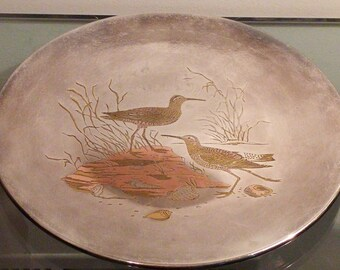 Sand Piper by Reed & Barton Damascene Inlay Silver Audobon Collector Plate Signed Limited Edition 2285/5000