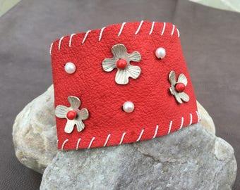 Red Leather Cuff Bracelet