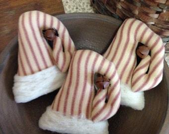 Primitive Homespun Santa's Hat Ornaments/Tucks/Bowl Fillers With Real Wool Trim