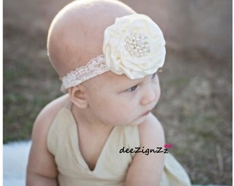 Girls Hair Accessories-Lace-Ivory-Vintage-Rose-Flower Headband-Baptism-Wedding-Flowers for Hair-Flower Girl-Baby-Infant-Birthday-Photo Prop