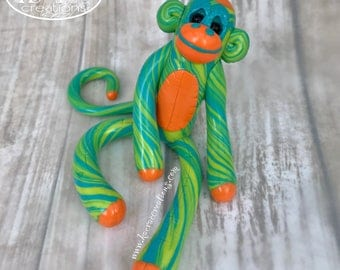 Rainbow Swirled Sock Monkey Shelfie