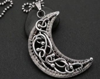 Wire wrapped silver moon pendant, Moon pendant, Moon jewelry, Crescent moon