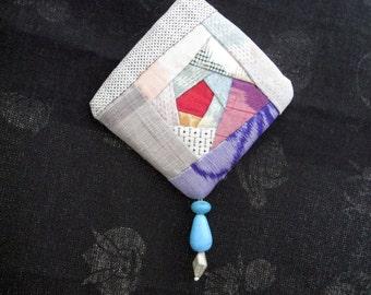 kimono fabric broach #2,Rose