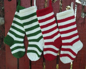 NEW 2017! Christmas Stocking Hand knit Wool Personalized Stripes purple plum dark gray green cranberry red and white