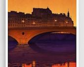 30% OFF SALE: Paris illustration - Ile Saint Louis (purple version) - Giclee Fine Art Print Paris by night Prints Posters Architectural Draw