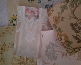 Vintage and Antique Shabby Chic Wallpaper Scrap Pack | 8 x 10 Sheets | Scenic | Floral | Muted Tones