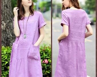Pintucking Linen Dress In Violet With Pockets, Loose Fitting Linen Tunic Dress, Shirt Dress, Party Dress, Pleated Dress, Evening Dress
