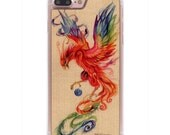 Katy Lipscomb Regal Phoenix Print iPhone 7 Plus Real Wood Slim Clear Case - Made in the USA - FREE Shipping
