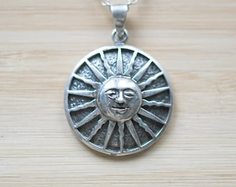 Sun necklace, sterling silver sun pendant, sun charm, long silver necklace, celestial, festival, boho jewelry, medallion - beyond the sun