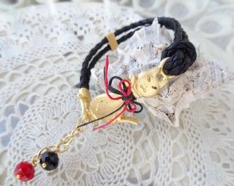 Cat Bracelet,Red&Black Bracelet,Leather Bracelet, Turkish Jewelry,Style Bracelet,Gold Bracelet,Gift For Mothers Day,Best Friend Birthday,