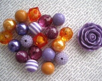 Purple and Orange Necklace Kit, Chunky Gumball Bead Kit, Bubblegum Necklace Kit, Hardware Included, Kids Necklace, DIY Jewelry