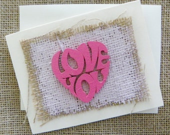 "Blank Note Card-LOVE YOU-Original 4.25"" x 5.5"" Nautical Mixed Media 3D w/envelope -Ivory- NJ artist Briz"