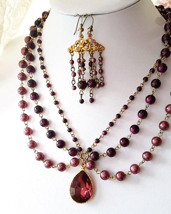 burgundy vintage inspired statement necklace earring set