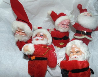 Vintage Lot 5 Christmas fuzzy flocked Santa Candle hugger ornaments Retro