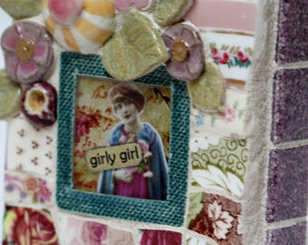 GIRLY GIRL, mosaic, mosaic art, pique assiette