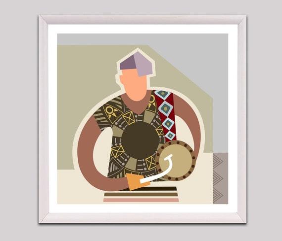 African Drum, Talking Drum, Nigerian Art, West Africa, African Design, African Art, African Home Decor, African Painting