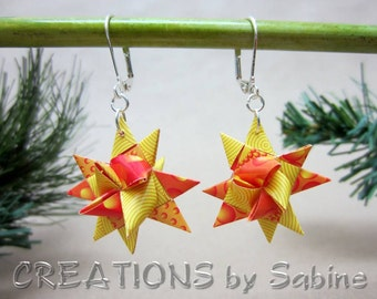 Origami Star Earrings Hand Folded Paper Silver Tone Metal Lever Back Christmas Holiday Jewelry Red Orange Yellow Gold READY TO SHIP (11)