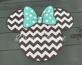GLITTER Minnie Mouse chevron Decal, Disney, laptop Decal, yeti decal, car Decal, girly (made to order)