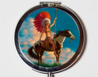 Art Deco Native American Compact Mirror - Horse Indian Roaring 20s Jazz Age Flapper - Make Up Pocket Mirror for Cosmetics