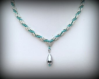 Spiral Necklace with Crystal Pendant - Turquoise and Silver - Bead Weaving