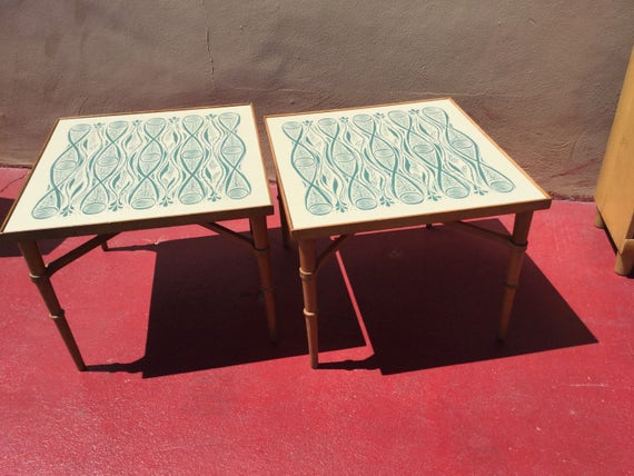 SALE Drexel Mid Century tables with decorative tops