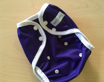 One size PUL cloth diaper cover - purple rain