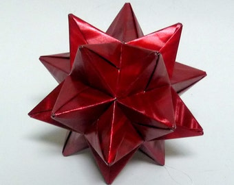 Red Moire Origami Star, Christmas Ornament, Star Ornament, Red Christmas Star, Origami Ornament