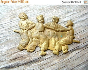 Christmas Sale Rare Brass Stamping - Antique Stamping - Ring Around the Rosey - Dutch Children - Brass Finding - Brass Stamping
