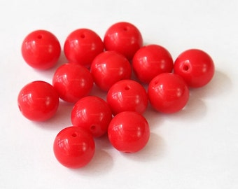 Opaque Coral Red Czech Glass Beads, 10mm Round Druk - 25 pcs - e9319-10r