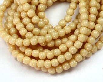 Opaque Light Beige Czech Glass Beads, 4mm Round- 100 pcs - e13010-04