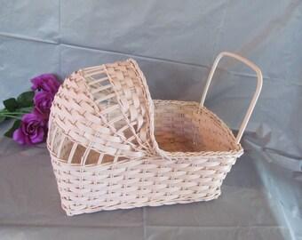Vintage Wicker Baby Cradle  for Baby Shower Centerpiece - Pink