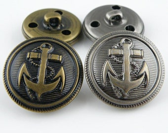 6 Pcs 0.59~0.98 Inches Retro Anti-silver/Bronze/Silver/Gold Anchor Metal Shank Buttons For Coats