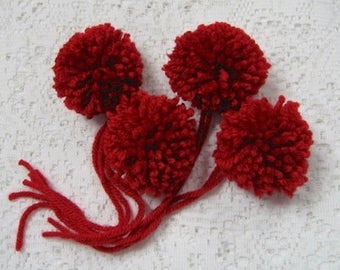 Handmade Yarn Pom Poms Red Size Small - Set of 4 - Costume Poms Package Ties