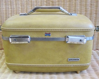 Vintage Yellow American Tourister Train Makeup Case Suitcase