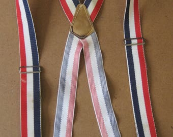 Suspenders Red White & Blue Mechanics HEAVY DUTY Mens Vintage Top Grain Cowhide