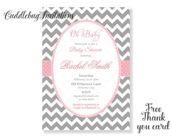Pink Baby Shower Invitation | Pink Girl Baby Shower | Pink Baby Girl Shower | Baby Girl Shower | Girl Shower Invitation Printable
