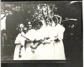 Old Photo Girl and Women wearing White Dresses in Line 1910s Photograph Snapshot vintage