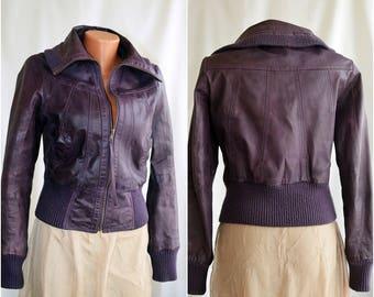 Vintage PLUM Genuine Leather Jacket, size S-M /36-38/