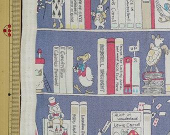 Alice in Wonderland Fabric Book Shelf Design Japanese Fabric - 110cm x 50cm