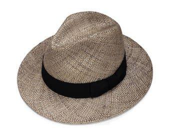 Gray fedoea straw hat  , Mens fedora straw hat ,  Fedora straw hat for women, straw hat for men, Summer hats , Sun Hat