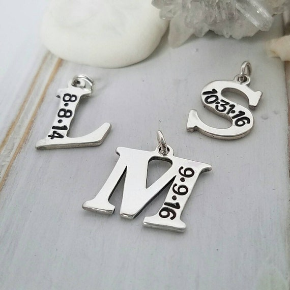 Add on charm, Initial and Date, Sterling Silver, Letter charm, Add On Charm ONLY, Larger Size, Hand Stamp, Custom, Personalized Mother Charm