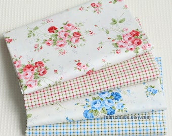 Coordinate Cotton Fabric, Rose Flower Plaid In Pink Blue Cotton, Quilting Cotton Fabric- 1/2 Yard