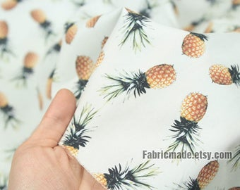 Pineapple Fruit Cotton Fabric, Off White Cotton With Cute Pineapple - 1/2 yard